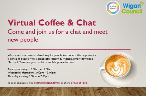 Feel you could do with a chat? Join Wigan Council's virtual coffee and chat drop-in sessions